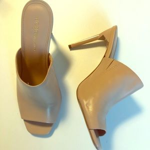 New BCBG nude leather mules